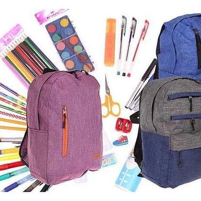 Batoh pro děti ve 2 barvách s náplní školních potřeb
