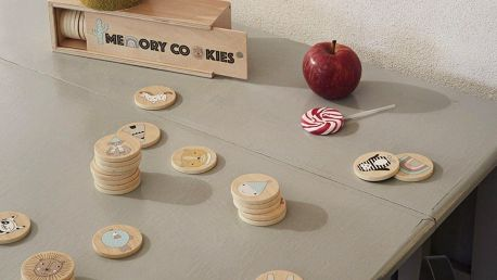 OYOY Dřevěné pexeso v krabičce Cookies, přírodní barva, dřevo
