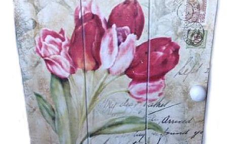 Skříňka na klíče tulipány