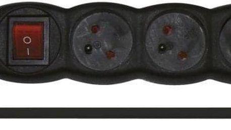 EMOS 4x zásuvka, 3m, vypínač černý (1902340300)