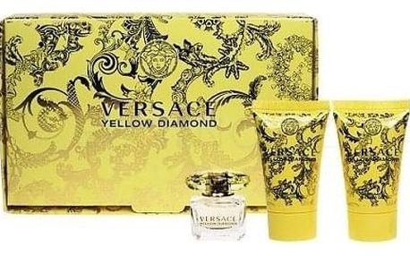 Versace Yellow Diamond dárková kazeta pro ženy toaletní voda 5 ml + tělové mléko 25 ml + sprchový gel 25 ml miniatura