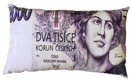 JAHU Polštářek Bankovka 2000 Kč, 35 x 60 cm