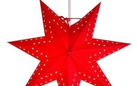 STAR TRADING Závěsná svítící hvězda Bobo Red 34 cm, červená barva, papír