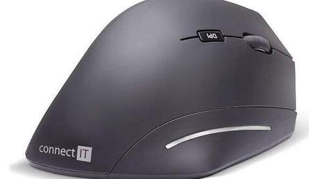 Connect IT Vertical Ergonomic Wireless černá / optická / 6 tlačítek / 1600dpi (CMO-2510-BK)