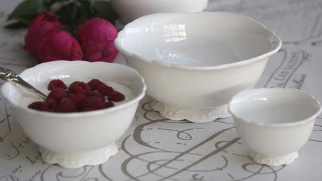 Chic Antique Set porcelánových misek Provence - 3ks, krémová barva, porcelán