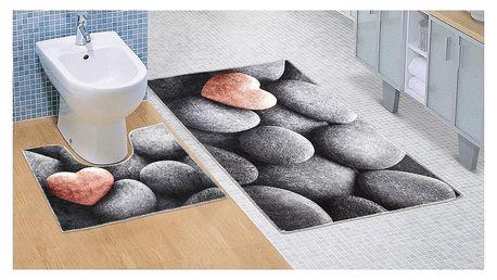 Bellatex Koupelnová předložka Tmavé kameny 3D, 60 x 100 + 60 x 50 cm