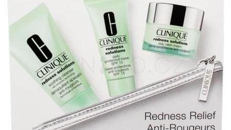 Clinique Redness Solutions Daily Relief Cream dárková kazeta pro ženy denní pleťová péče 15 ml + báze pod make-up SPF15 15 ml + čisticí přípravek 30 ml + kosmetická taštička