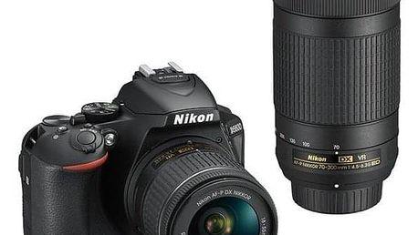 Nikon D5600 + 18-55 AF-P VR + 70-300 AF-P VR černý (VBA500K004)