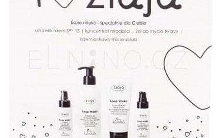 Ziaja Goat´s Milk SPF15 dárková kazeta pro ženy denní pleťový krém SPF15 50 ml + pleťové sérum 50 ml + čisticí gel 200 ml + pleťový peeling 75 ml