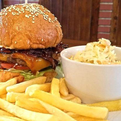 Burger dle výběru, hranolky a pivo pro 1 i 2 os.