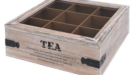 EH Excellent Houseware Dřevěný box na čaj TEA, 9 přihrádek HZ1007290