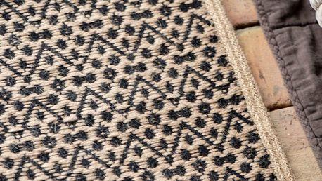 IB LAURSEN Jutový kobereček Cotton Zigzag 60x90 cm, černá barva, přírodní barva, textil