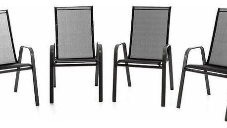 Garthen 40813 Zahradní sada 4 x stohovatelná židle balkonová - černá