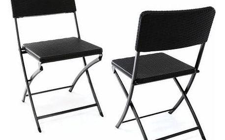 Garthen 37104 Sada 2 skládacích polyratanových židlí 80 x 40 cm