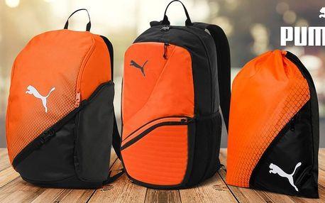 Oranžovo-černé sportovní batohy a gymsack Puma