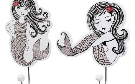 Bloomingville Dětský háček Mermaid Hvězdice ve vlasech, růžová barva, bílá barva, kov, dřevotříska