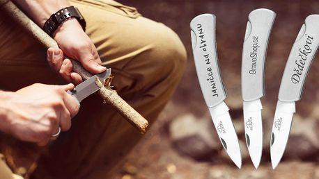 Otevírací nerezový nůž s vlastním textem