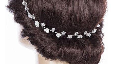 Svatební ozdoba do vlasů - čelenka Stříbrné kytky perly