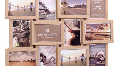 Emako Obdélníkový rámeček pro 12 fotek, fotorámeček, rámeček na fotky - mini galerie na fotky, 46 x 60 x 3 cm