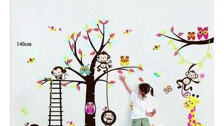 Samolepka na zeď Samolepka pohádkový strom sovičky, opice