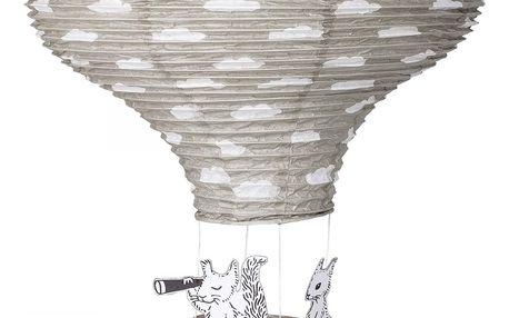 Bloomingville Papírový létající balón Grey 40 cm, šedá barva, papír