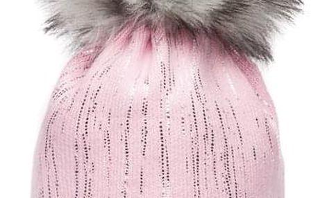 Růžová čepice Woolk se stříbrnými proužky a šedou bambulí