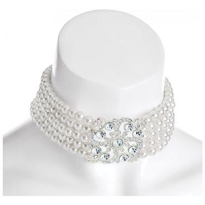 Bílý choker náhrdelník Pearls 31092