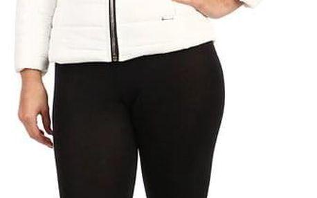 Prošívaná dámská krátká bunda s kožíškem bílá