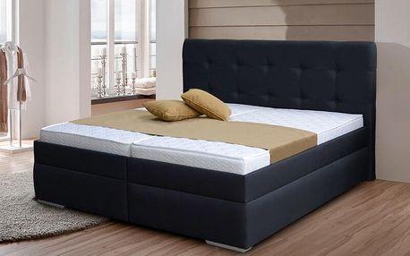 Zvýšená manželská postel INGRIDA 2 180x200 cm vč. roštu a ÚP Ekokůže černá