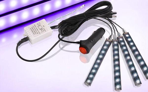 4 barevné LED lišty se zapojením do zapalovače