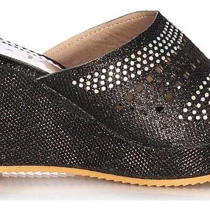 Prety Dámské pantofle na klínku černé CP20-1B Velikost: 38 (24,5 cm)