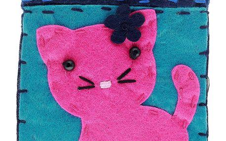 Fashion Icon Peněženka Ružová kočka flísová na magnet