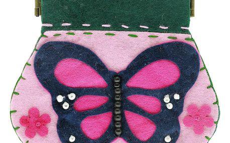 Fashion Icon Peněženka Motýl růžový flísová na magnet