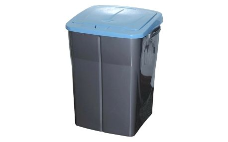 Koš na tříděný odpad modré víko; 51 x 36 x 36,5 cm; 45 l; plast