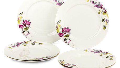 Verso 6dílná sada dezertních talířů Clasico Floral, 20,5 cm