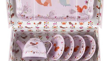 sass & belle Dětský picnic box Woodland friends, růžová barva, kov, papír