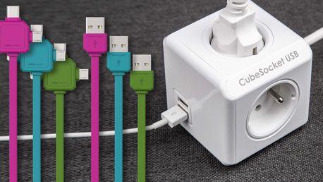 Zásuvka CubeSocket se 4 zdířkami a USB kabelem