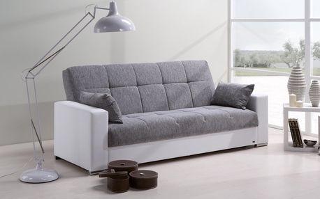 Rozkládací pohovka DEXTER s úložným prostorem Ekokůže bílá / šedá