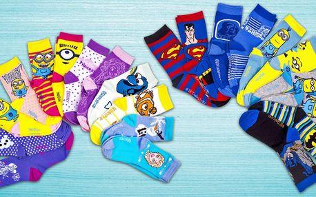 Dětské ponožky s oblíbenými pohádkovými hrdiny