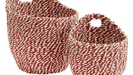MADAM STOLTZ Nástěnný košík Raspberry/white Menší, červená barva, bílá barva, papír