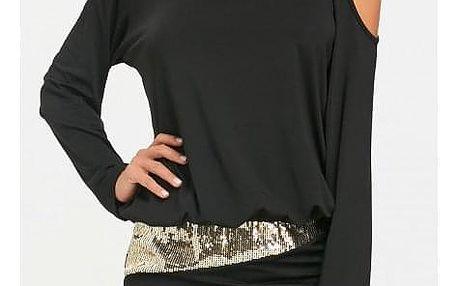 Šaty a dlouhým rukávem v originálním provedení - 4 barvy, 5 velikostí