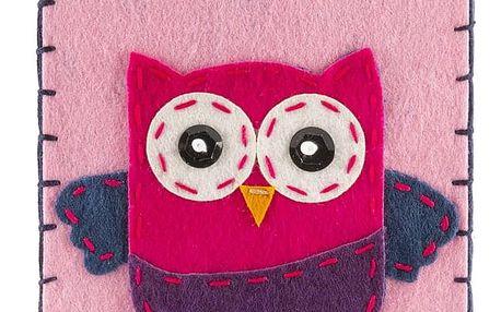 Ochranné pouzdro na mobilní telefony Růžová sovíčka filcové na zip