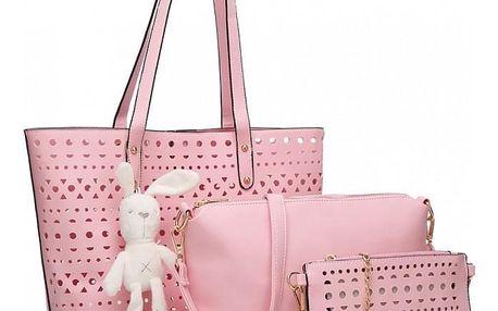 SET: Dámská růžová kabelka Natasha 1829