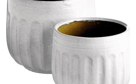 Tine K Home Keramický obal na květináč Grooves White L-2 druhy Větší velikost, bílá barva, keramika