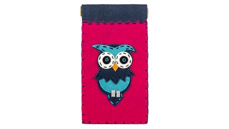 Ochranné pouzdro na mobilní telefony Modrá sova filcové na magnet