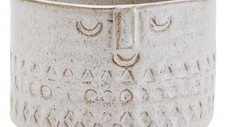 MADAM STOLTZ Obal na květináč Face imprint, béžová barva, keramika