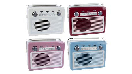 IB LAURSEN Plechová dóza Retro Radio Lunch box - 4 druhy Červená, multi barva, kov