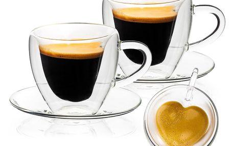 4home Termo sklenice šálek s podšálkem Heart Hot&Cool, 150 ml, 2 ks