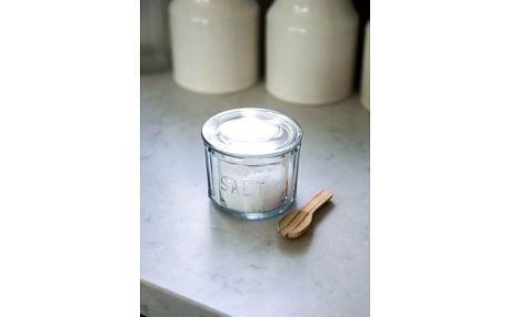 Garden Trading Skleněná dóza na sůl se lžičkou Salt Pot, hnědá barva, čirá barva, sklo, dřevo
