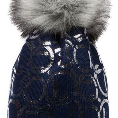 Tmavě modrá čepice Woolk se spojenými stříbrnými kroužky s šedou bambulí